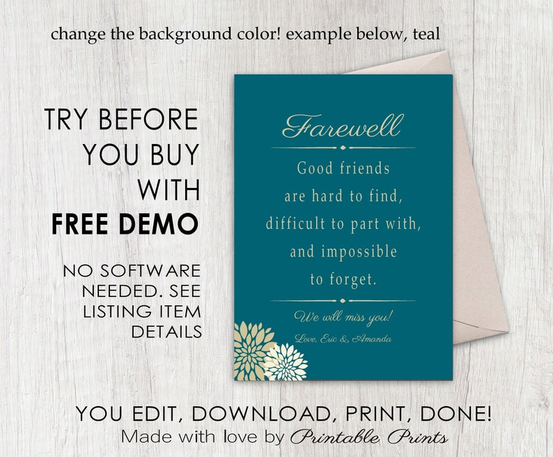farewell card personalized editable goodbye card or sign
