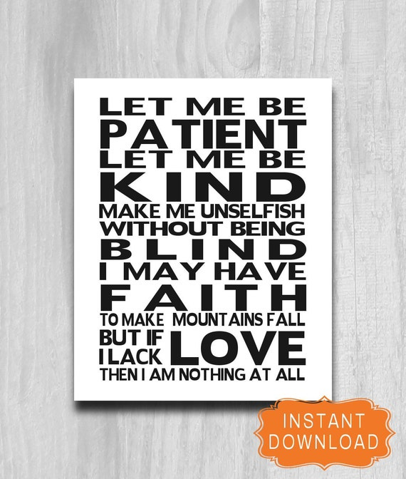 Inpirational Art Print Let Me Be Patient Let Me Be Kind Quote Etsy