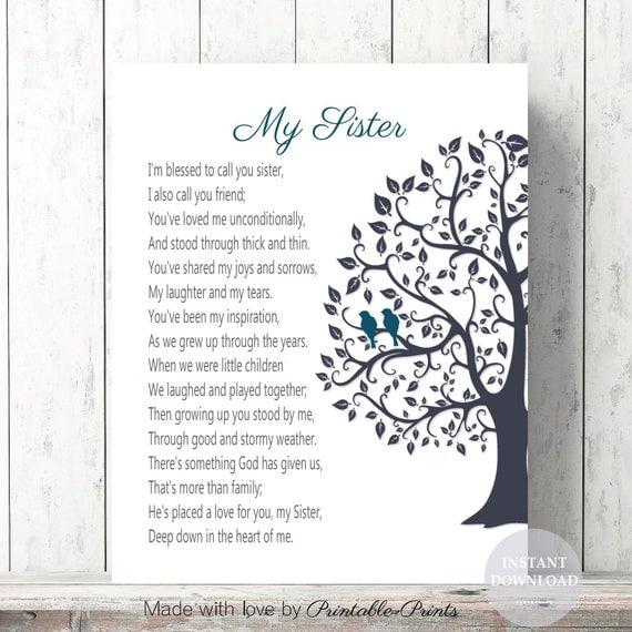 Schwester Weihnachtsgeschenk Gedicht Geburtstag Geschenk Etsy