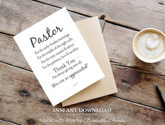 Printable Pastor Appreciation Card 5x7 Card Gift For Pastor Etsy