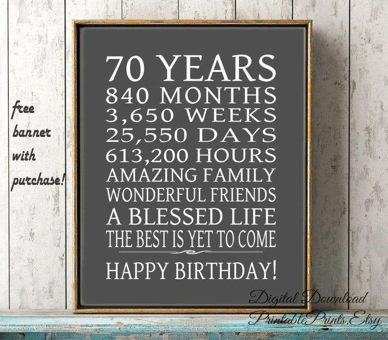 70th Birthday Sign Dad Gift FREE PRINTABLE 70 Year