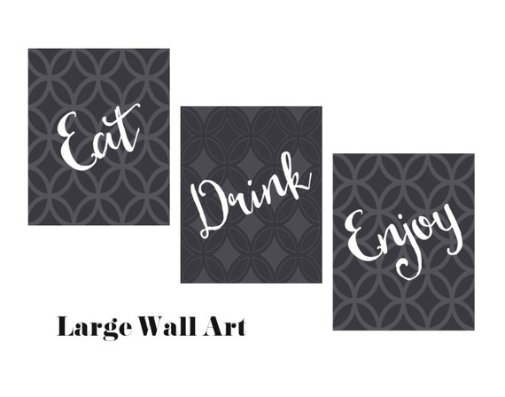 Ordinaire Eat Drink Enjoy Set Dining Room Art LARGE Wall Art Digital | Etsy