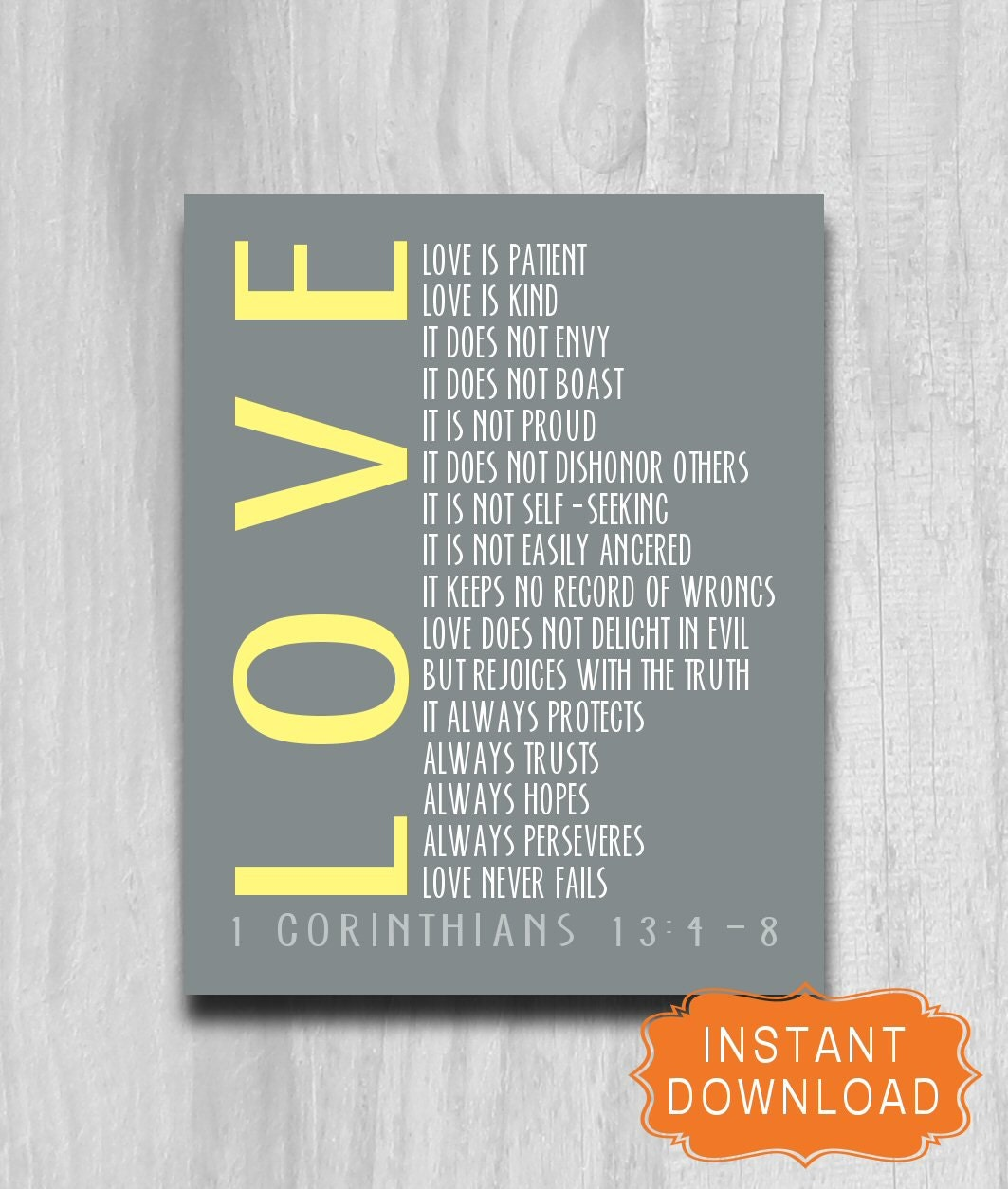 Printable Scripture 1 Corinthians 13 4 8 Love Never Fails Etsy