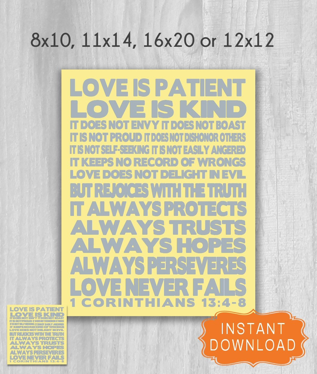 1 Corinthians 13 4 8 Love is Patient BOLD 12x12 or Poster | Etsy