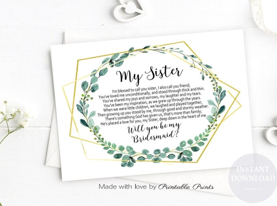 photograph relating to Bridesmaid Proposal Printable referred to as Printable SISTER Will By yourself Be My Bridesmaid Proposal POEM Sister Prompt Down load GOLD Greenery Wedding ceremony Electronic Jpeg 7X5 Card Print Do it yourself