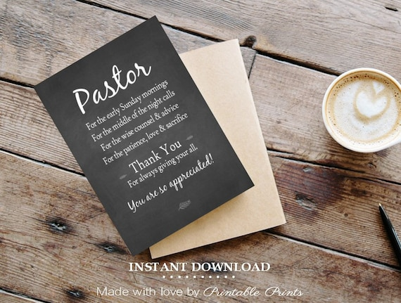 Pastor Appreciation Card 5x7 Printable Card Gift For Pastor Etsy