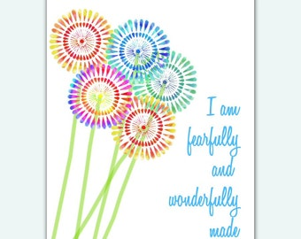 Scripture Nursery Art I Am Fearfully and INSTANT DOWNLOAD DIY Printable Print Baby Shower Gift Christian Tie Dye Flowers Decor