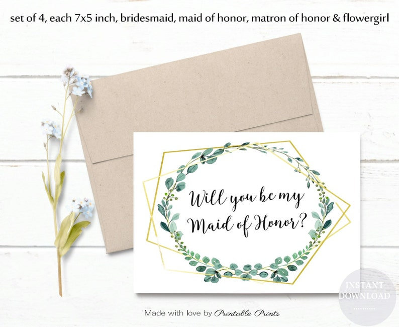 photograph regarding Will You Be My Maid of Honor Printable titled Printable Will On your own Be My Bridesmaid, Maid of Honor Proposal Quick Obtain Mounted of 4 GOLD Greenery Wedding day Printable Electronic JPEG 7X5 Card