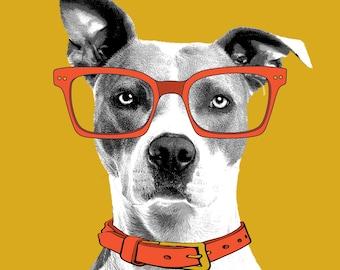 Pet Portraits Orange & Mustard, Digital download, dog with glasses, cat, memorial, birthdays, print the file yourself!
