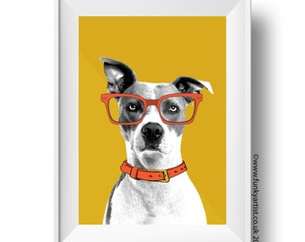 Custom Pet Portraits, Bespoke Illustrations of your pet, from your photo, dog, cat, memorial, birthdays, printed in colours of your choice