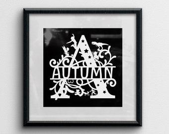 Custom Monogram Papercut, split letter, choice of images around the letter