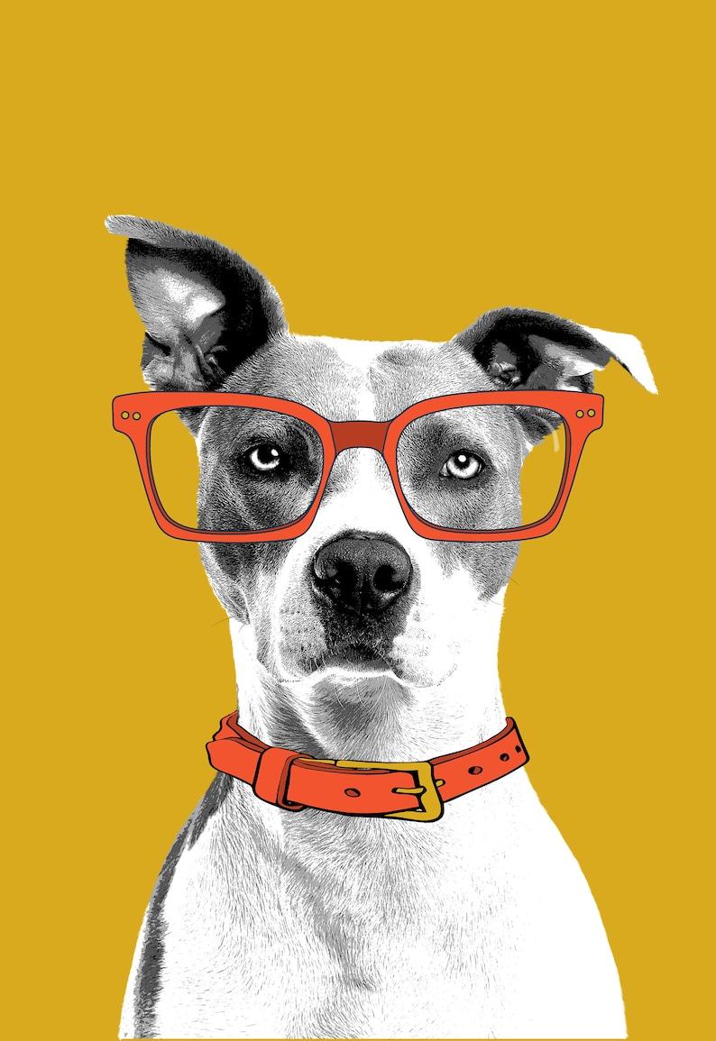 Pet Portraits Orange & Mustard Digital download dog with image 0