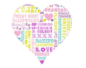 Heart Art - Your words in a heart, Love in a print, , 30x30cms