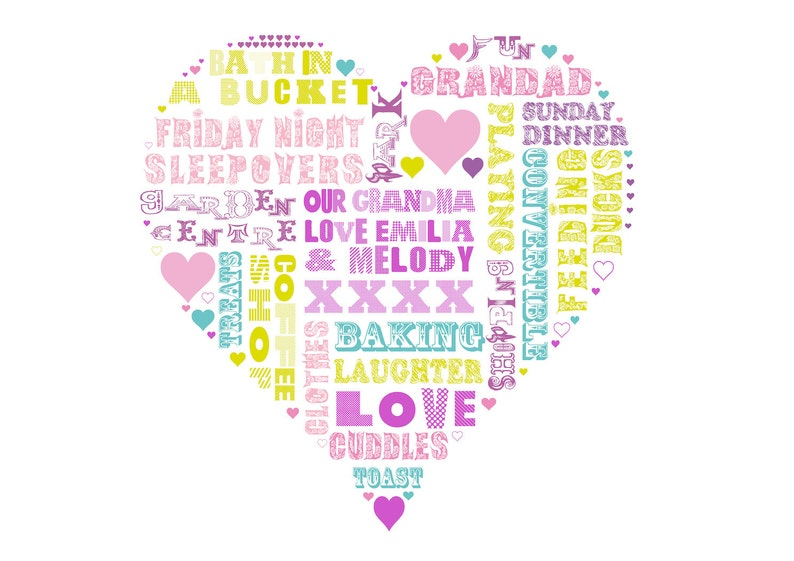 Heart Art  Your words in a heart Love in a print  30x30cms image 0
