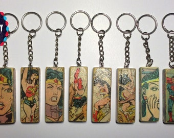 Superhero inspired, wooden keyrings - 13cm long x 2.4cm wide. Each individually made by me