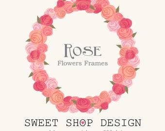 Rose Clip Art, Flower Border Clip Art, Frames, Royalty Free Clip Art, N03, Valentine, Instant Download