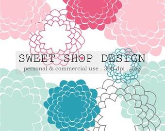 Flower Clip Art, Floral Clip Art, Wedding Clip Art, Royalty Free Clip Art, N03, Abstract, Pink, Blue, Chrysanthemum, Instant Download
