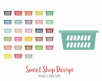 Laundry Baskets Clip Art, Laundry Clip Art, Planner Stickers, Royalty Free Clip Art, Instant Download