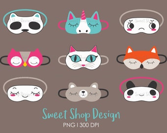 Slumber Party Clip Art, Sleeping Mask Clip Art, Pajama Party Clip Art, Birthday Party Clip Art, Sleep Over, Commercial Use