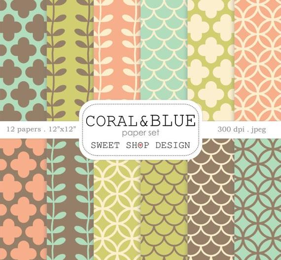 Digital Paper Coral Blue Printable Scrapbook Paper Pack Etsy