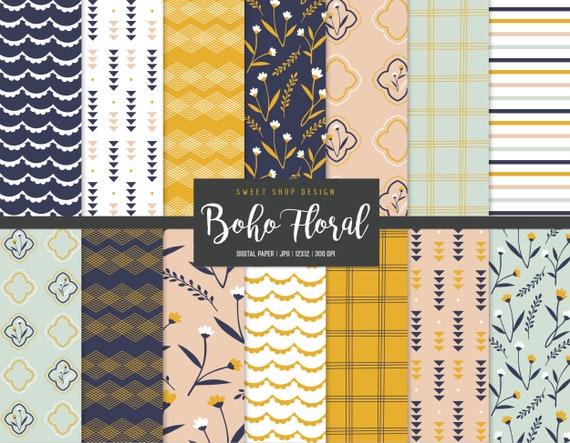 Boho Digital Paper Pastel Floral Digital Paper Summer Floral Paper DP121 Floral Seamless Pattern Paisley Digital Paper 6x6 Printable