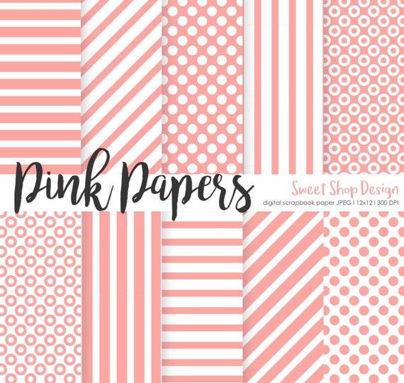 Paquete De Rosa Scrapbook Digital De Papel Para Imprimir Etsy
