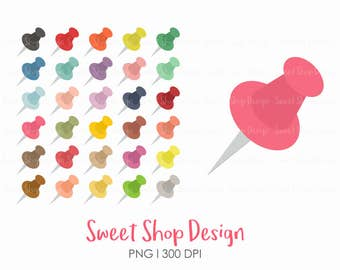 Push Pins Clip Art, Pins Clip Art, Office Supplies, Planner Stickers, Royalty Free Clip Art, Instant Download