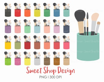 Makeup Brush Clip Art, Make Up Clip Art, Cosmetics, Rainbow Colors, Royalty Free Clip Art, Planner Stickers, Instant Download