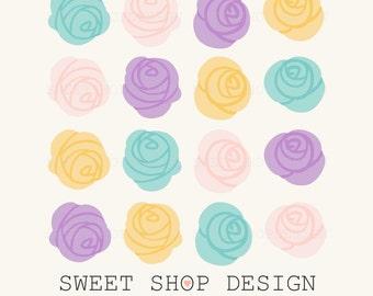 Rose Clip Art, Flower Clip Art, Royalty Free Clip Art, N01, Yellow, Pink, Blue, Purple, Instant Download
