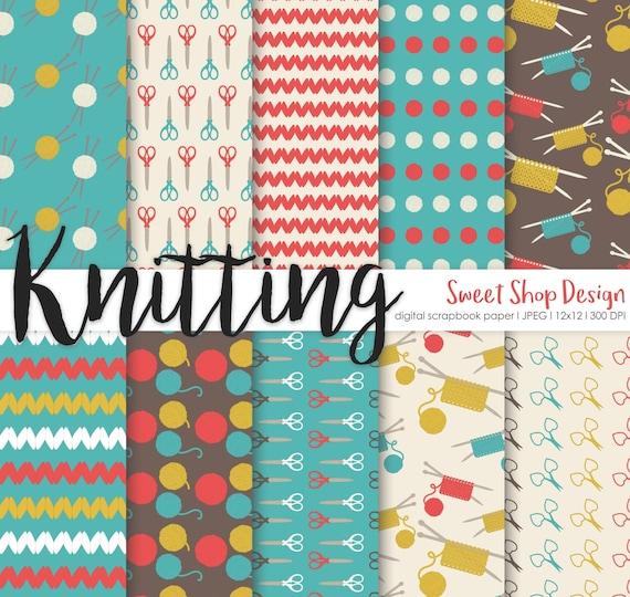 Knitting Digital Paper Printable Scrapbook Paper Pack Wool Etsy