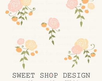 Rose Clip Art, Flower Clip Art, Wedding Clip Art, Royalty Free Clip Art, Clementine, Instant Download
