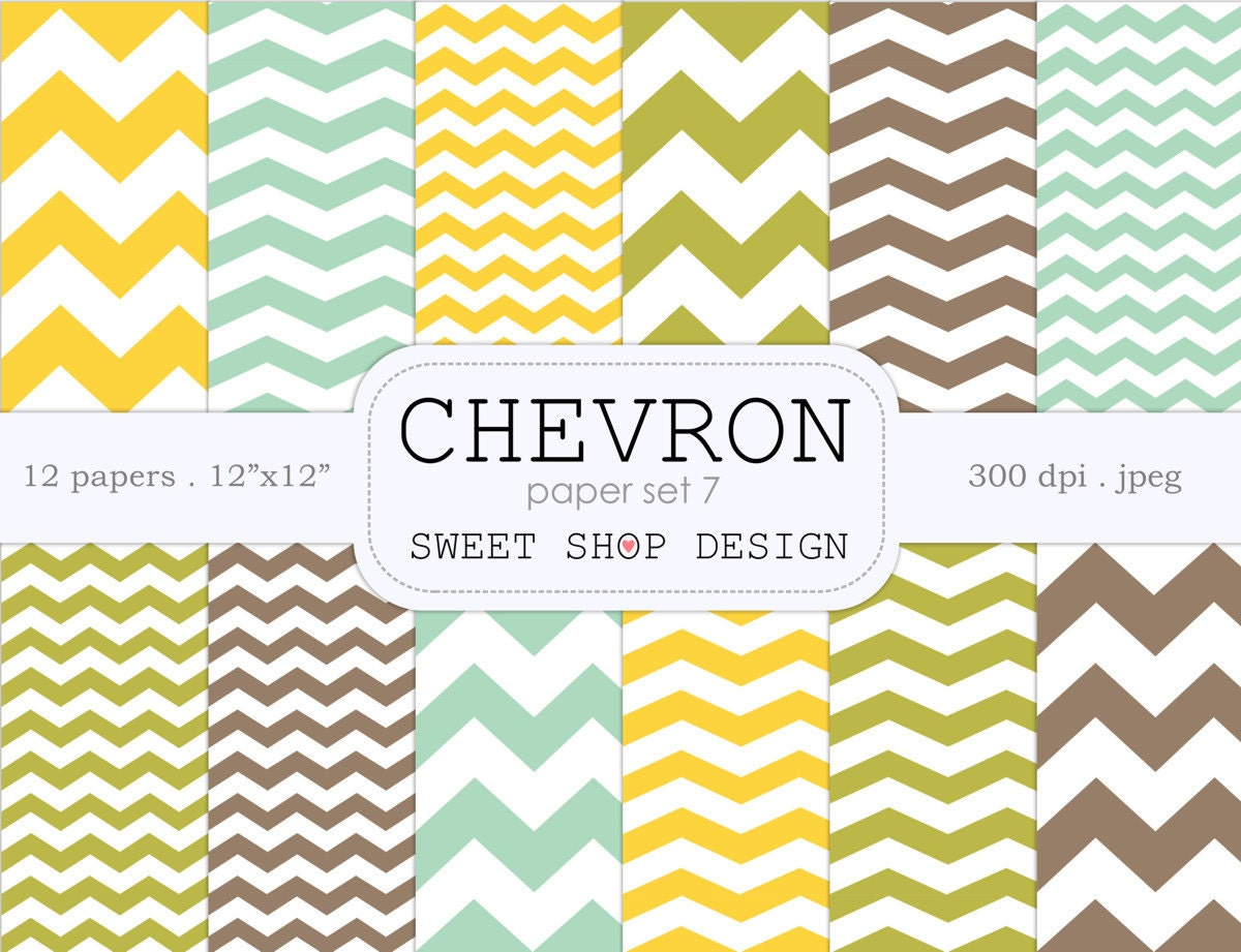 digital paper printable scrapbook paper pack 12x12 chevron