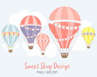 Hot Air Balloon Clip Art, Hot Air Balloon Clipart, Planner Stickers, Royalty Free Clip Art, Instant Download