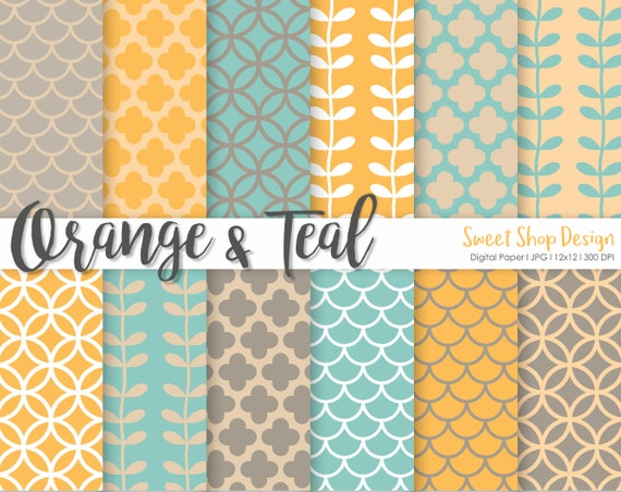 Digital Paper Orange Teal Printable Scrapbook Paper Pack 12x12 Set Of 12 Papers By Sweet Shop Design Catch My Party