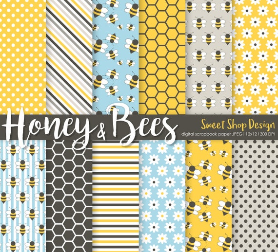 Beekeeper Gift Digital Paper Instant Download 12 x 12 Kraft Paper Save The Bees Bee My Honey Solid Colors
