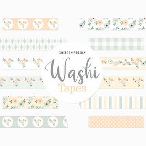 Digital Washi Tape Clipart PROTEA FLOWERS Graphics with Floral Stripes Polka Dots Lattices For Digital Planner Goodnotes