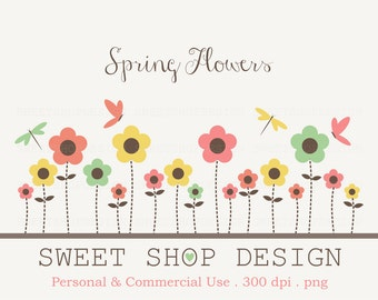 Flower Clip Art, Baby Shower Clip Art, Royalty Free Clip Art, Spring, Instant Download