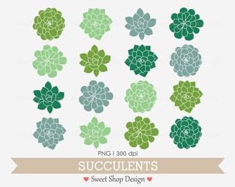 Succulent Clip Art, Hens & Chicks, Wedding Clip Art, Plant Clip Art, Emerald Green, Instant Download