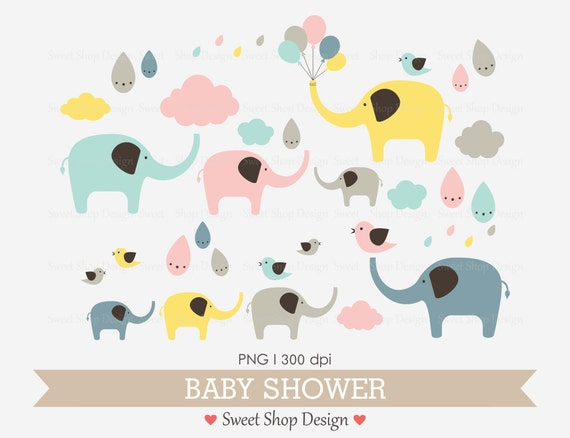 Baby Shower Clip Art Baby Clip Art Digital Clip Art Elephant