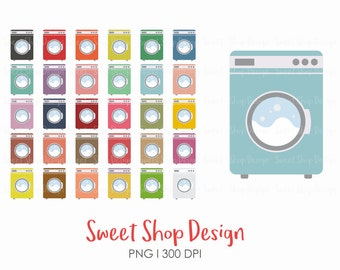 Laundry Clip Art, Washing Machine Clip Art, Laundry Icon, Planner Stickers, Royalty Free Clip Art, Instant Download