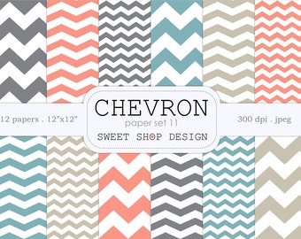 Digital Paper, Printable Scrapbook Paper Pack, Chevron N11, 12x12, Set of 12 Papers
