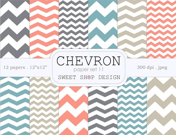 photograph relating to Printable Patterned Paper called Electronic Paper, Printable Sbook Paper Pack, Chevron N11, 12x12, Fastened of 12 Papers