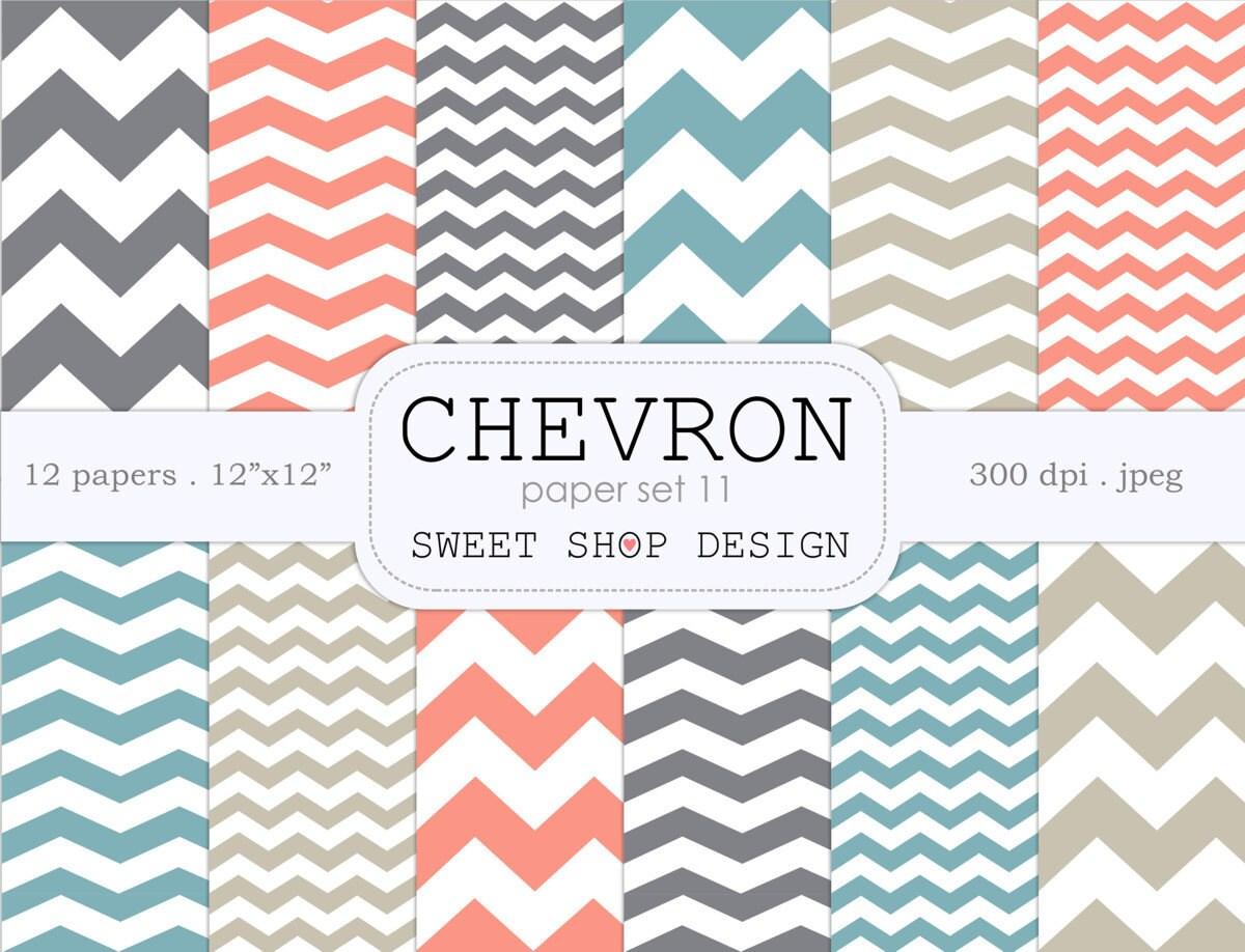 Digital Paper Printable Scrapbook Paper Pack Chevron N11 Etsy