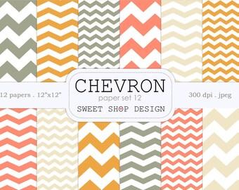 Digital Paper, Printable Scrapbook Paper Pack, 12x12, Chevron N06, Set of 12 Papers