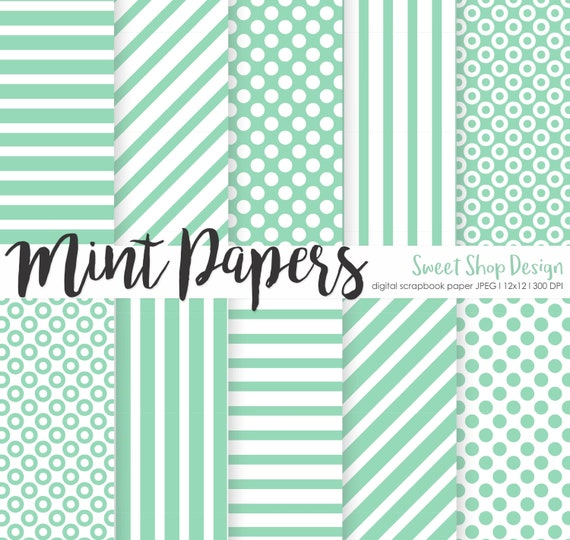 Digital Paper Mint Printable Scrapbook Paper Pack 12x12 Etsy