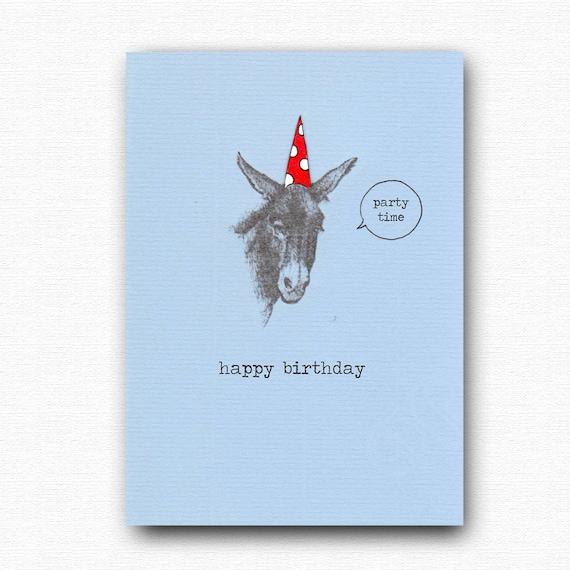 Funny Happy Birthday Card Donkey Says Party Time Blue Etsy