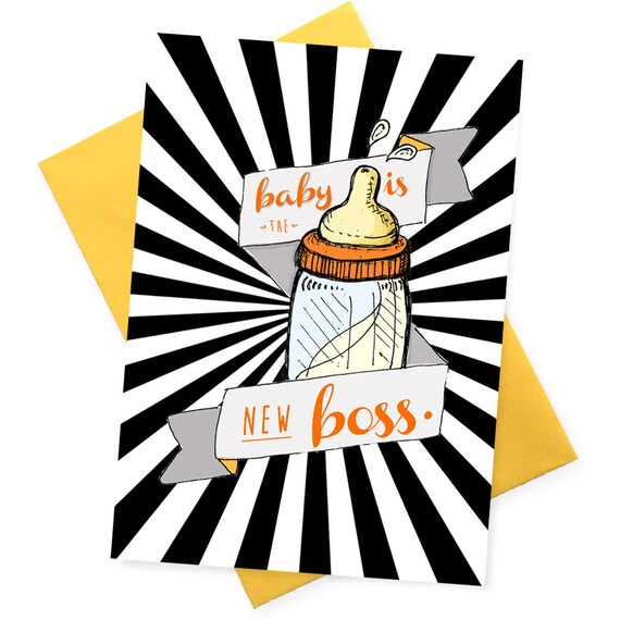Arrival of Your New Boss Congratulations Baby Boy Or Girl Card New Mum Card Funny New Baby Card Baby Humour