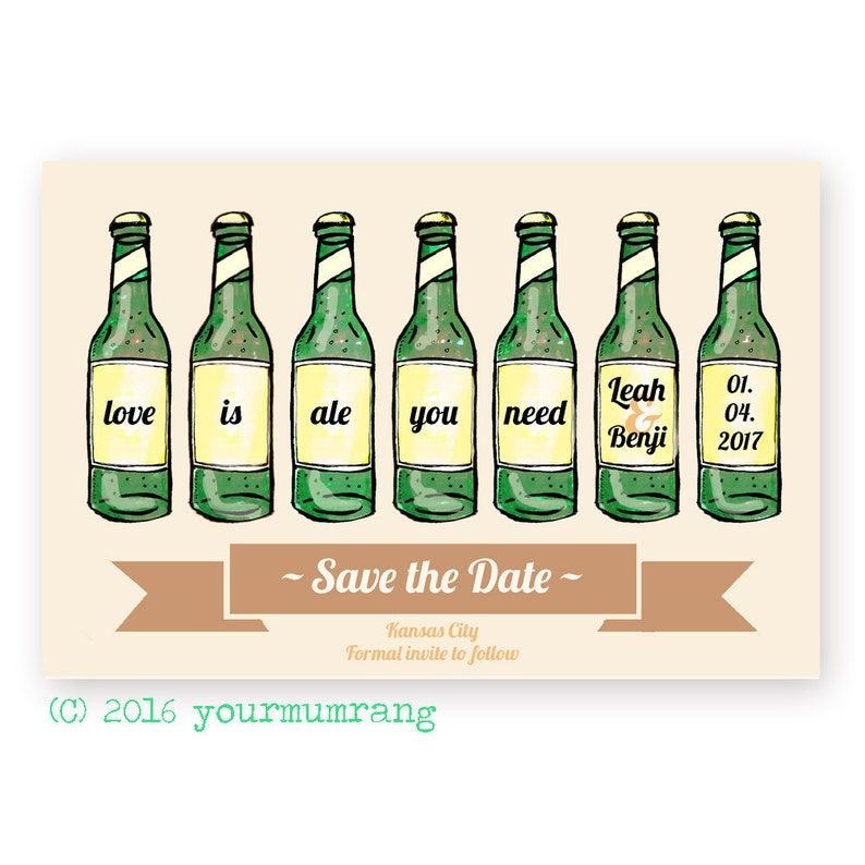 Printable Save the Date Postcard Love is ale you need DIGITAL FILE Modern DIY beer wedding guest email Funny pun wedding stationery