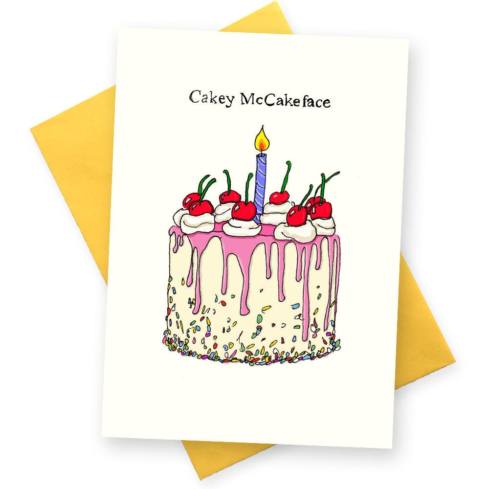 Funny Birthday Card . Cakey McCakeFace Greetings Cards