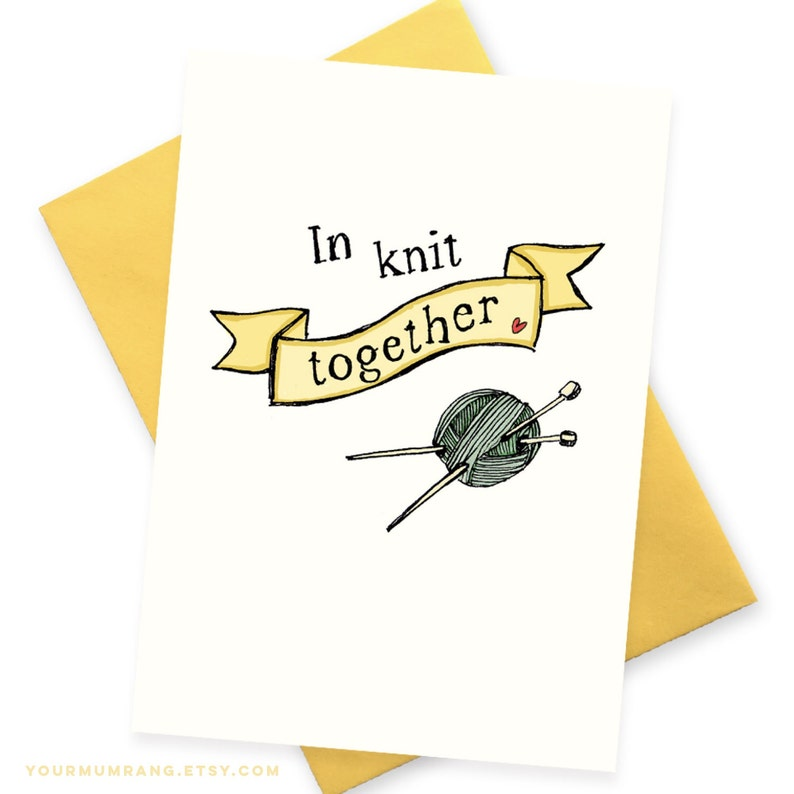 Funny card Knitting stitch n bitch hipster girl Mother/'s Day Sister best friend BFF Greeting cards In Knit Together Friendship Valentine